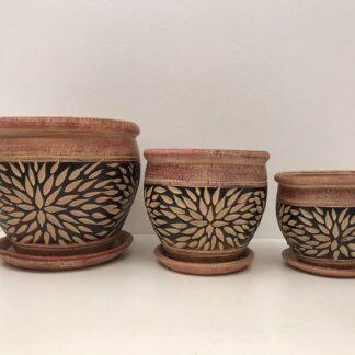 Krukkesæt med 3 stk. med brunt mønster