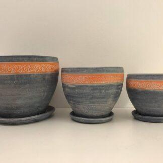 Krukkesæt med 3 stk. Mørke blå med orange mønster