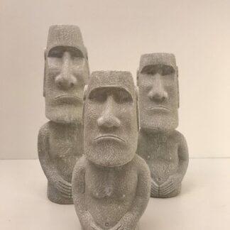 Moeye statue sæt med 3 stk. i cement, højeste er 60 cm.