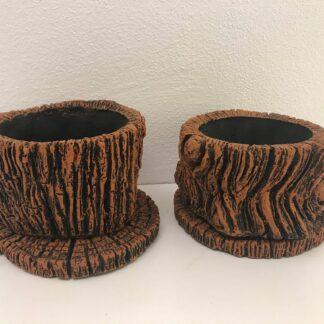 Potte skjuler som træstub med underskål, lille model
